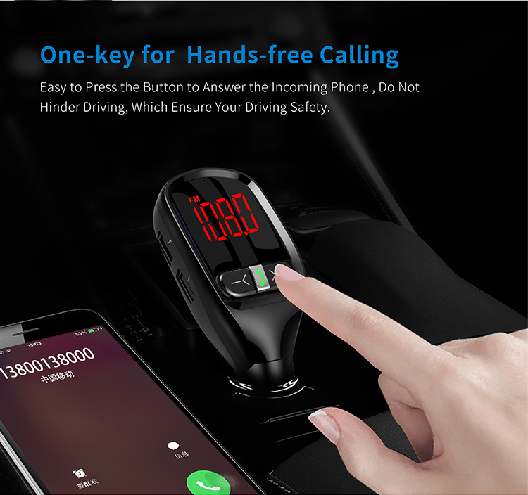 GXYKIT G11S Dual 3.1A Car Charger MP3 Music Player Bluetooth 4.2 Handsfree FM Transmitter