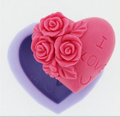 Easy for using and cooking silicone cake mould Rose loveing Bakeware