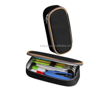 Durable Students Stationery Big Capacity Pen Bag Makeup Pouch Pencil Case With Double Zipper, Black