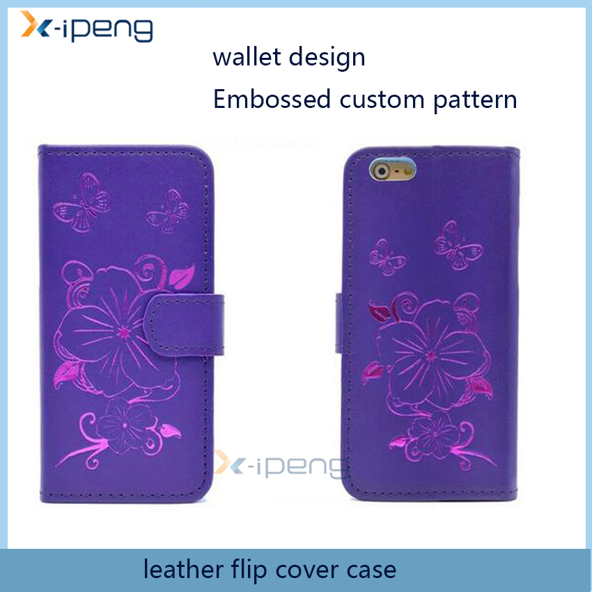Newest Embossed custom Leather wallet flip mobile phone cover case for lenovo vibe p1 c72