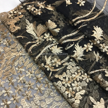 Hot textile stone and 3D beaded embroidery lace fabric