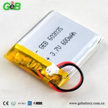 GEB 603035 lithium cell battery li-ion battery 3.7v 600mah slim battery for camera pen