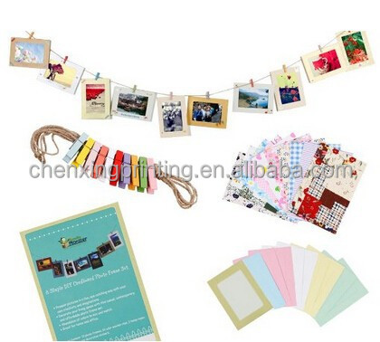 Wall Deco DIY Paper Photo Frame with Mini Clothespins