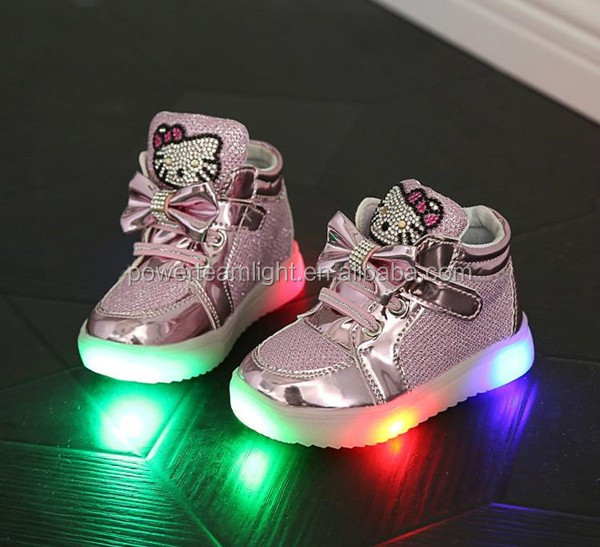 2017 hello kitty logo led kids yeezy light <strong>shoes</strong>