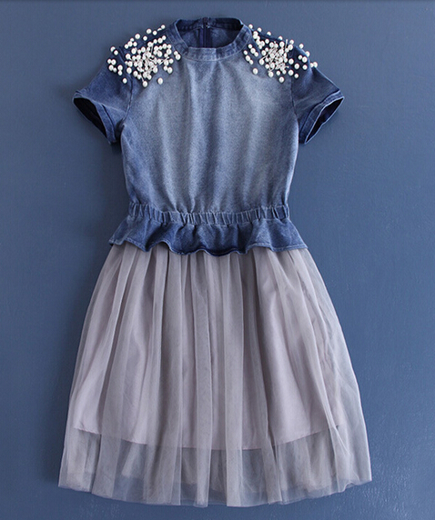 2015 fashion denim tops beaded latest net dress designs for ladies