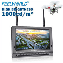 "7"" high brightness 1000cd/m dual antenna wireless receiver professional fpv lcd monitor rc small helicopter motor"