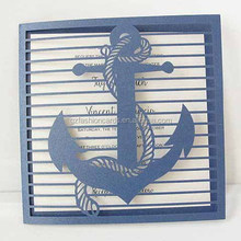 Promotional 2016 Navy Blue Custom Anchor Laser Cut Square Invitation Card