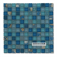 Natural Style Ocean Blue Glass Mixed Stained Sea Shell Bathroom Mosaic Wall Tiles