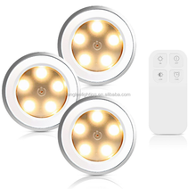 Battery Operated Wireless LED Puck Light Reomote Control Cabinet Lights