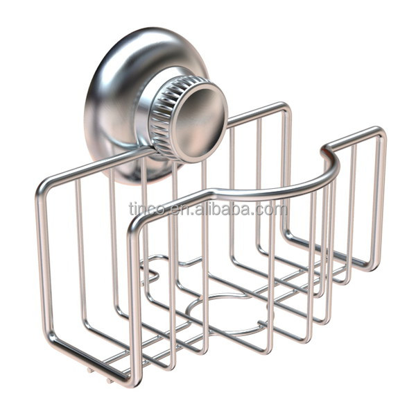 Kitchen Sink Super Strong Suction Sponge and Scouring Pad Holder, Stainless Steel