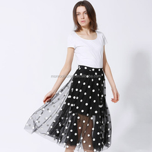 monroo women fashion polka dots pictures of a-line skirt