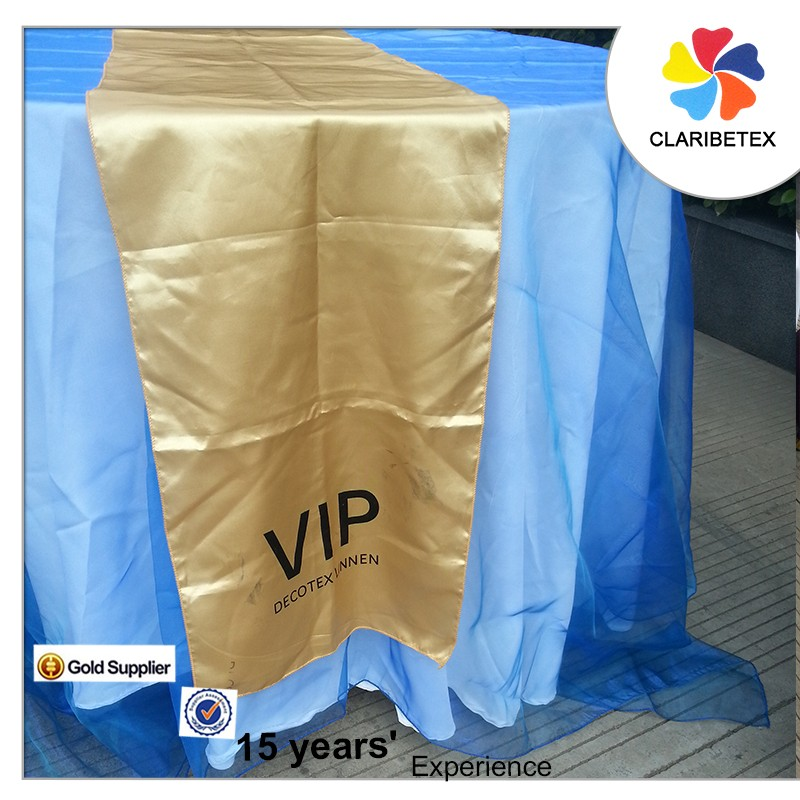 "OEM 12"" x 108"" gold satin table runner desk customized logo"