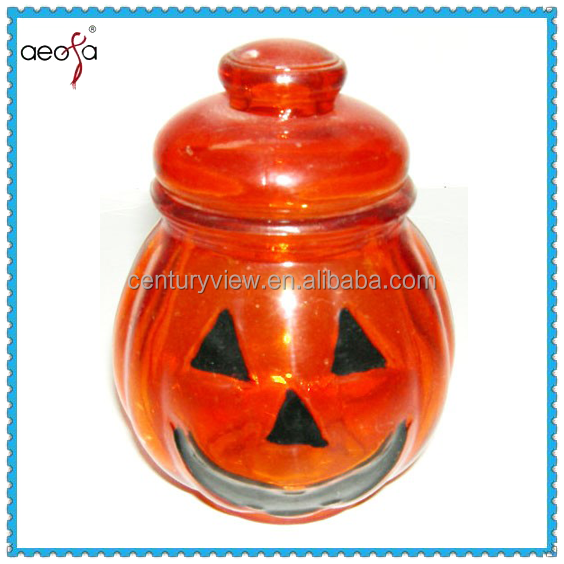 Pumpkin Shaped Candle Holder Glass With Smiling Face