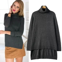 MS67162W high neck front short back long sweater autumn fashion 2015