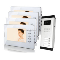 "7"" Video Intercom Apartment Entry Door Phone System 4 Monitor 1 Doorbell Camera for 4 House In Stock Wholesale"