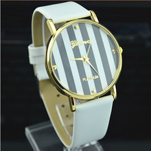 New Leather Strap Stripe Dial Super Design Casual Geneva Wrist Watch for Women dress Boy and Girls watches