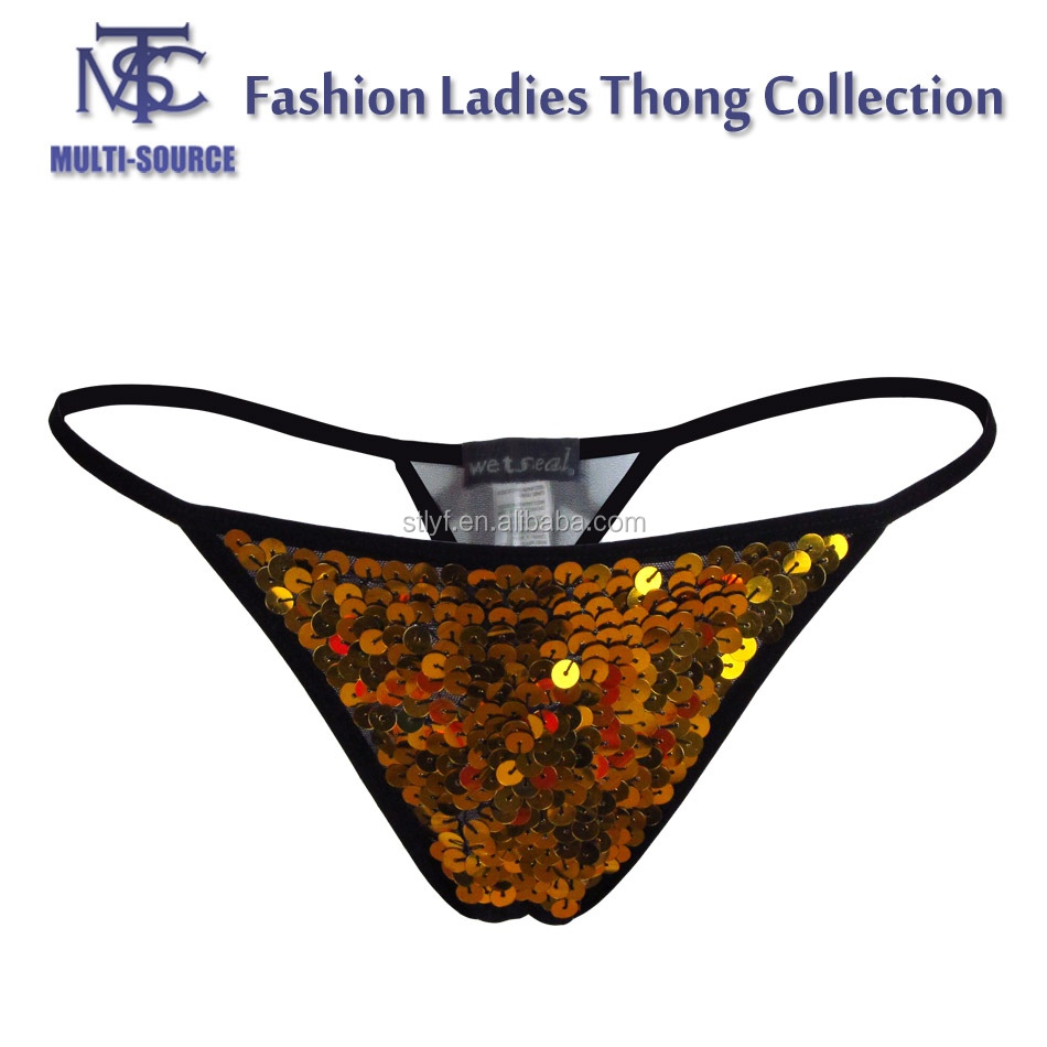 Sexy Shining Sequin design T-back underwear woman for ladies thong