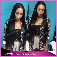 Hot Sale Top Quality extra long 30inch #1b virgin malaysian silk straight human hair lace front wig