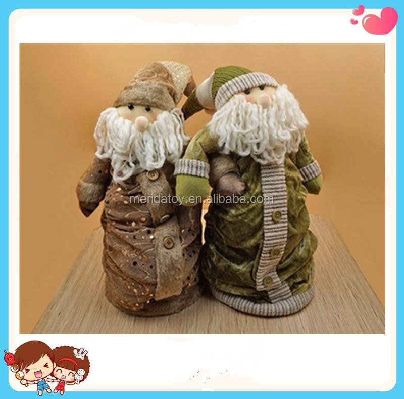 Nordic type wholesale christmas festival decoration Santa plush toy spring flexiable in height