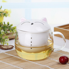 201ML-300ML Clear Glass Tea Cup Meng Cat Cup With Ceramic Drain Filter Cup