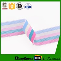 Wholesales high quality polyester colored striped decorative elastic ribbon