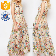Beige V-neckline Floral Embroidered Mesh Beach Wear Summer Maxi Dresses Manufacture Wholesale Fashion Women Apparel (TF0454D)