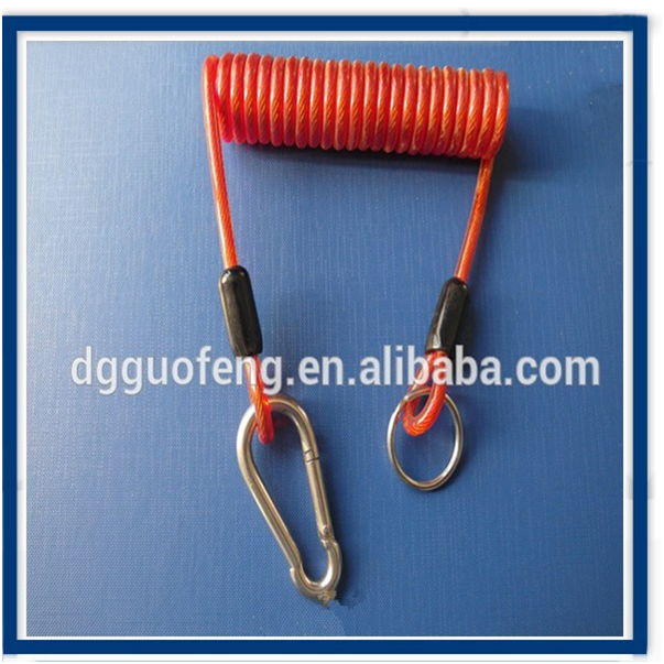 Blue / <strong>Orange</strong> Coiled Cable Tool Lanyard with Carabiner hook / keyring
