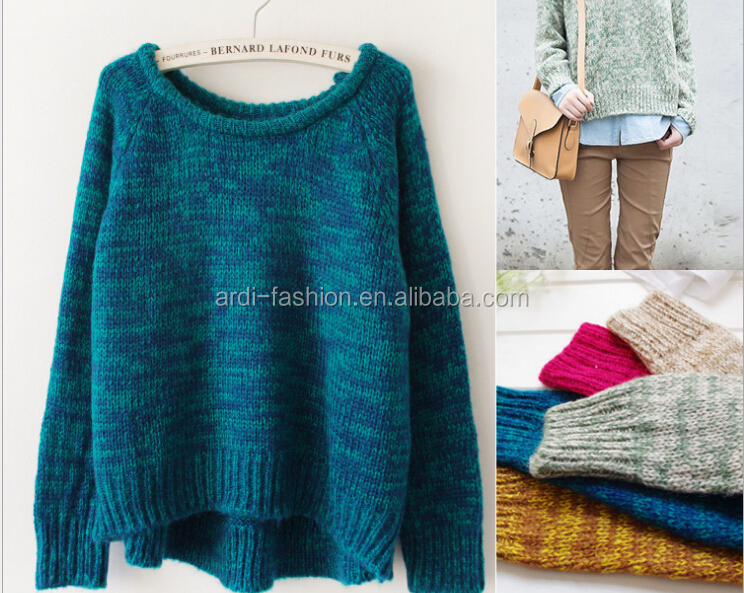 autumn winter heavy knit oversized sweater for women