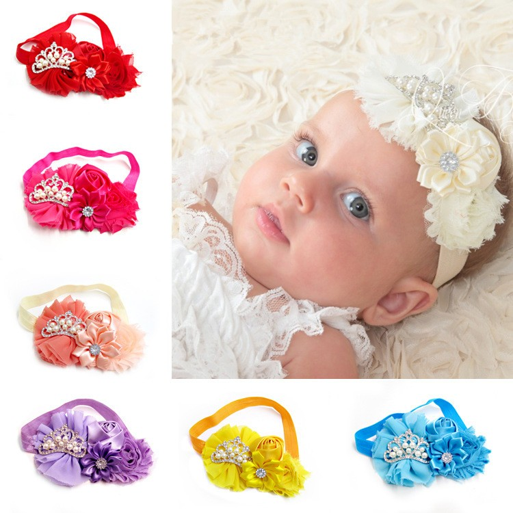 Newborn Baby Pearl Crown Headband Flower Headband