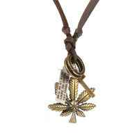 Alibaba Hot Adjustable Alloy Antique Bronze Cross Leaf Pendant Leather Necklace