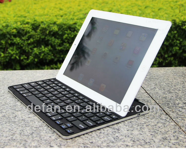 For iPad 4 Aluminum Ultra Thin Bluetooth Wireless Keyboard Case Cover Dock Stand