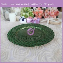 #17765 Hot Selling Newest Elegant Gold Peacock Glass Wedding Charger Plate Wholesale