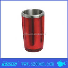 Double wall plastic and stainless steel ice bucket for wine cooler