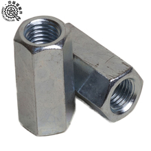 China supplier factory price din 6334 carbon steel zinc white plated hexgaon coupling nuts/ hex coupler /hex coupling nuts.
