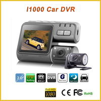 Dual Camera lens gps car dual camera i1000 HD 720P Radio Recorder vision drive black box backup camera for bmw x5