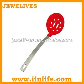 Fashion silicone leaking spoon with stainless steel
