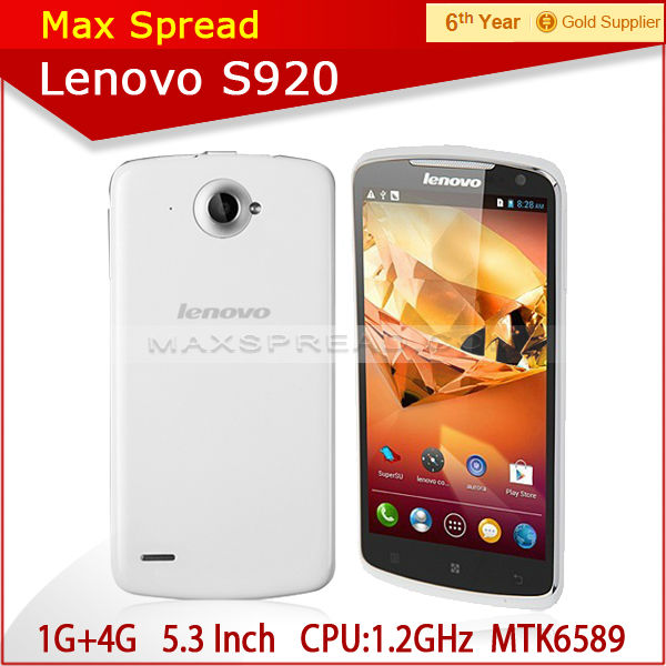 new arrival 5.3 inch screen Lenovo S920 MTK6589 1.2GHz quad core-CPU 1GB ram 4GB rom GPS 3G brand handphone