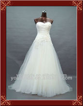 White A-line Sweetheart with Applique Beaded Wedding Dress Sharara
