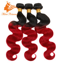Red Indian Remy Hair Weave Ombre Two Tone Color Body 1BTRed Body Wave Hair Weft Unprocessed Wavy Human Hair