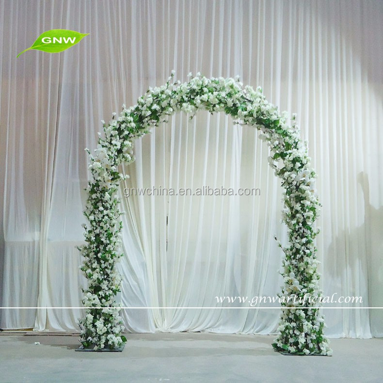 GNW FLA1603004-C Wholesale wedding arch with cherry blossom and orchids for flower wreaths