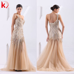 New hot selling yellow one shoulder mermaid prom dress organza chapel wedding dress bridal gown