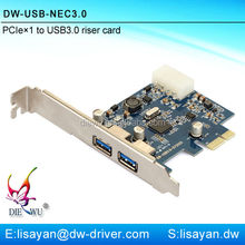 Mini 2 port usb 3.0 pci express adapter for laptop