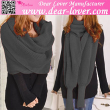 Latest fashion Grey Versatile Knit Cashmere Pashmina Shawls with Sleeves