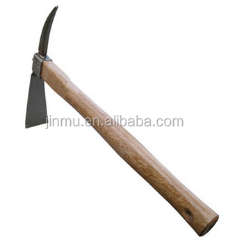 Farming tool of small pickaxe with short wood handle