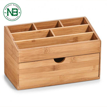Natural bamboo home office desk organizer storage box with drawer