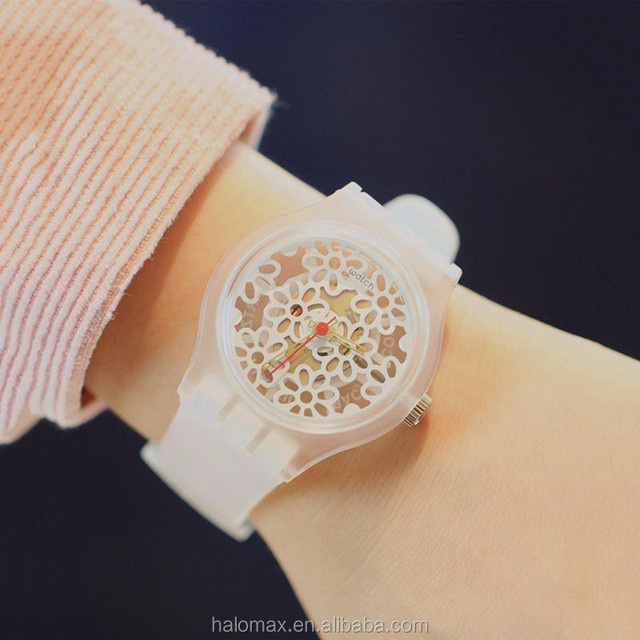 Korea simple Harajuku style cute small fresh white transparent hollow flowers female students watch