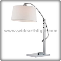 UL CUL Listed Arc Hotel Desk Lamp With Nickel Finish And Fabric Shade T80377