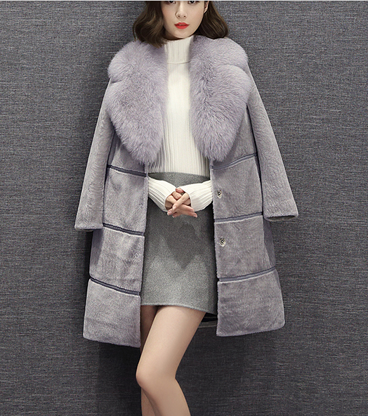 cashmere coat with fox fur collar 170212-03
