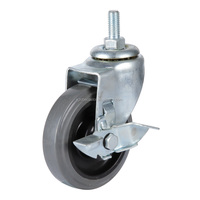 5 inch stem gray PU suitcase caster wheels with brake