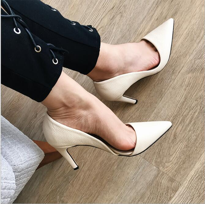 sh20139a European and American women sexy shoes with high heels pointed toe single shoes